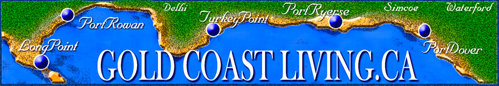 Link and map for accommodations, cottages for rent and places to stay on the Gold Coast, South Coast of Ontario, Port Dover, Turkey Point, Simcoe, Long Point, and Port Ryerse in Norfolk County on Lake Erie